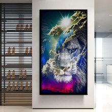 Современные настенные картины на холсте животные горы Лев плакаты