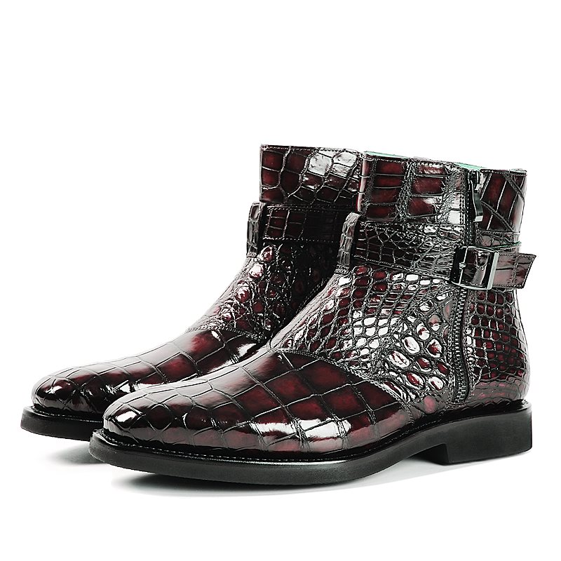 Мужские ботинки из искусственной кожи аллигатора; Дизайнерская обувь на низком каблуке с молнией и пряжкой; Зимние ботильоны; Классические мужские повседневные ботинки в винтажном стиле; TV833|Повседневная обувь|   | АлиЭкспресс