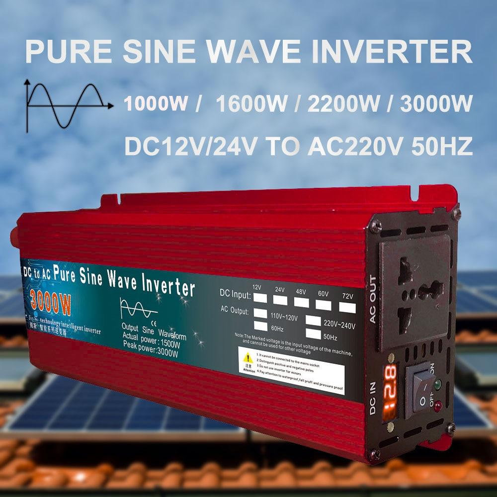 Инвертор 12 В, 220 В, 1000 Вт, 2000 Вт, 3000 Вт, 24 В, 48 В постоянного тока, 60 в 220 В переменного тока, преобразователь немодулированного синусоидального с...