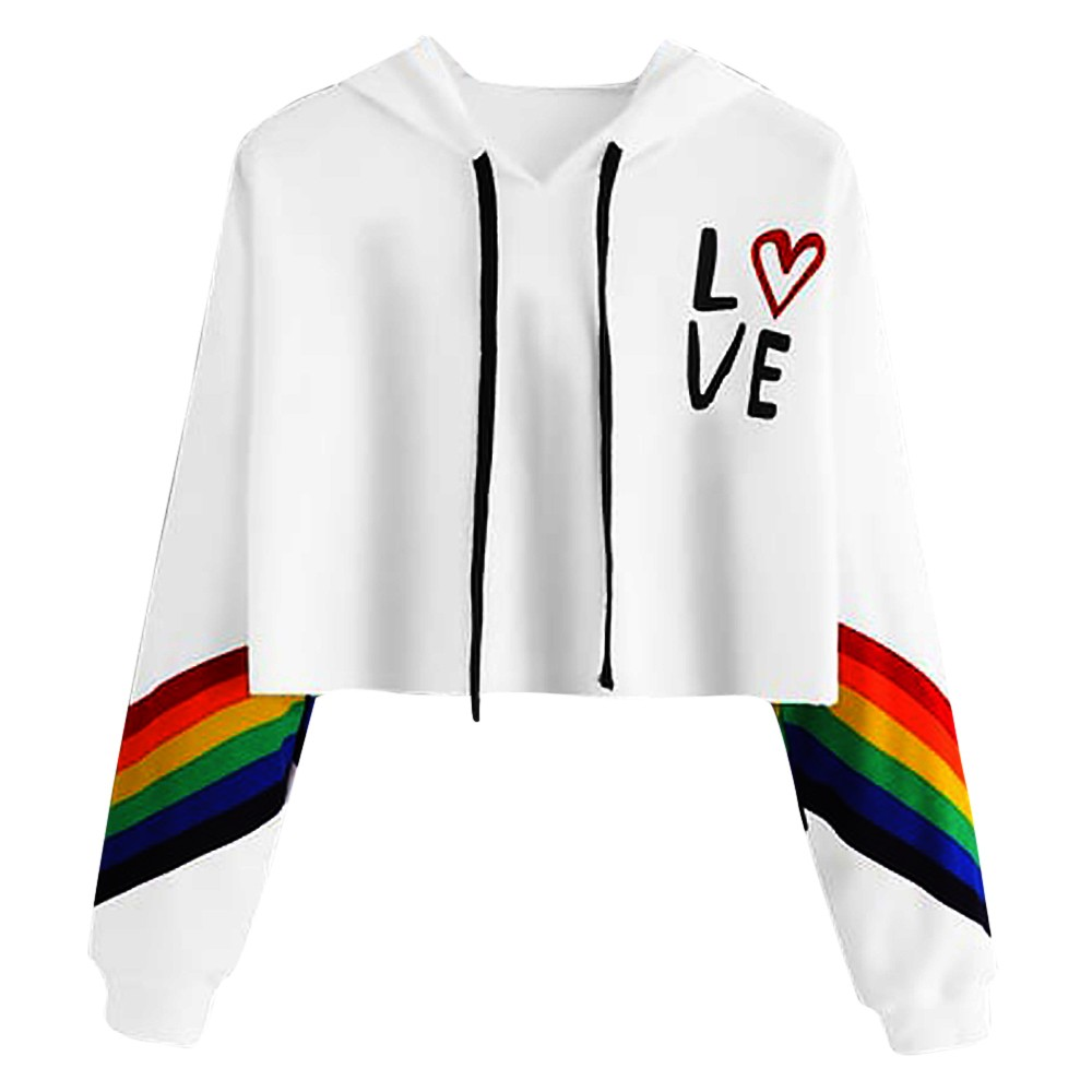 Women's Long Sleeve Hoodie Pullover Rainbow Letter Print Sweatshirt Blouse Tops LOVE Printing Kawaii Clothes Sudadera
