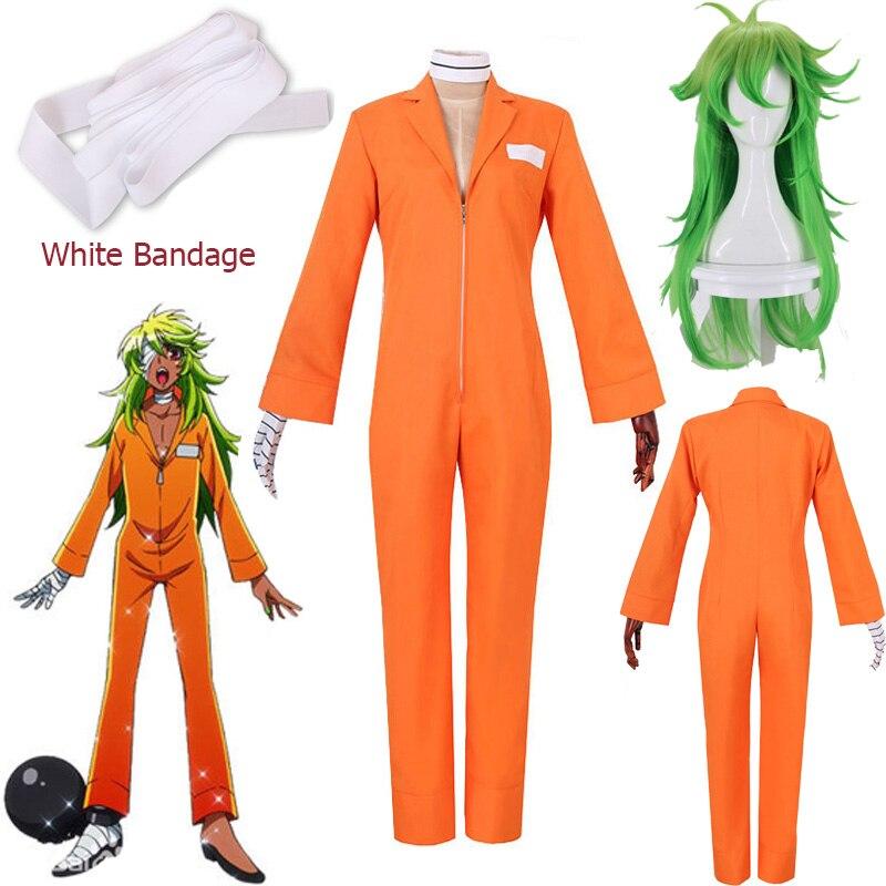 Anime Nanbaka NO.25 Niko Rock Jail Uniform Cosplay Costumes Orange Bodysuit +Glove Prisoner Cosplay Clothing  Free Shipping