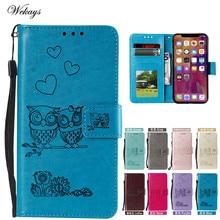 Cartoon Owl Flip Leather Case For Xiaomi