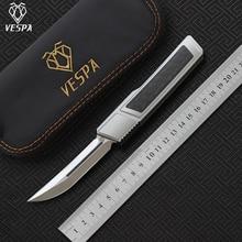 سكين فيسبا الممزق ، M390 مقبض شفرة الساتان: 7075 ألومنيوم + CF ، أداة صيد EDC التكتيكية للاستخدام الخارجي سكين للمطبخ