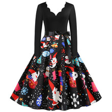 Mode Weihnachten Kleid Frauen Vintage Winter Polka Dot Print Langarm Casual Elegante Party Kleid Plus Größe S ~ 3XL robe Femme(China)
