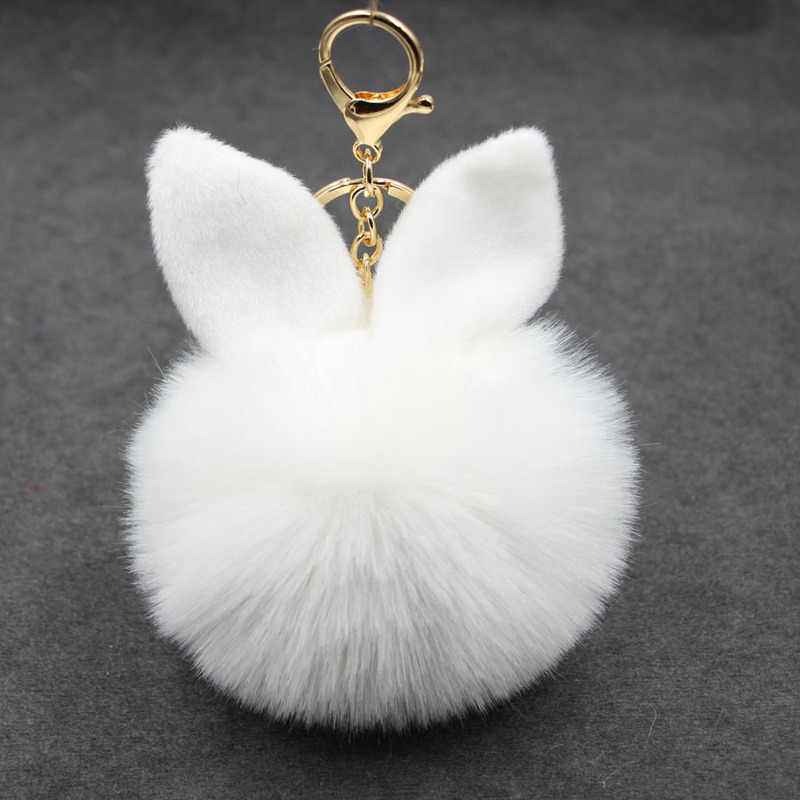 New Fluffy Bunny Toys Ear Keychain Rabbit Key Chain Fur Woman Bag Charms Keyring Pom Pom Car Pendant Pompom Holder Jewelry