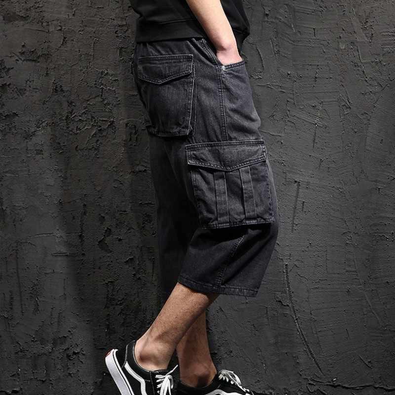 Męskie spodenki jeansowe męskie letnie duże spodenki z kieszeniami Plus rozmiar 48 workowate spodnie jeansowe męskie spodnie do łydki luźny krój Harem Pants