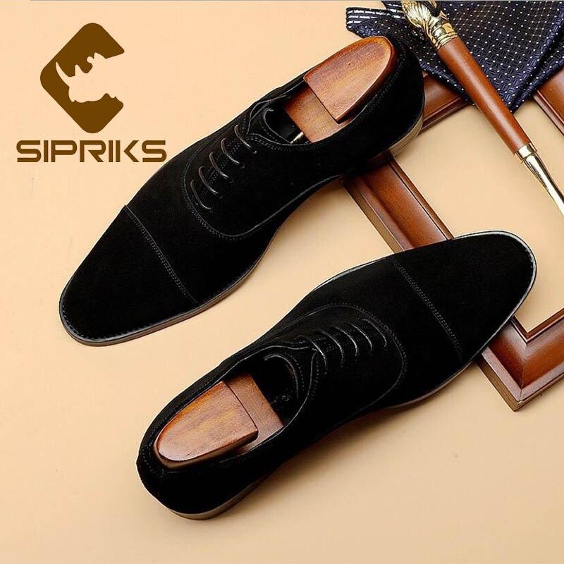 Sipriks hommes noir vache daim robe Oxfords chaussures Cap-toe église chaussures marron Blake mariage affaires classique rétro chaussures décontractées 44