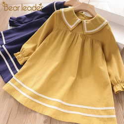Urso líder meninas vestido estilo marinho vestido outono manga longa puff vestidos de princesa sólidos crianças vestido da criança vestidos
