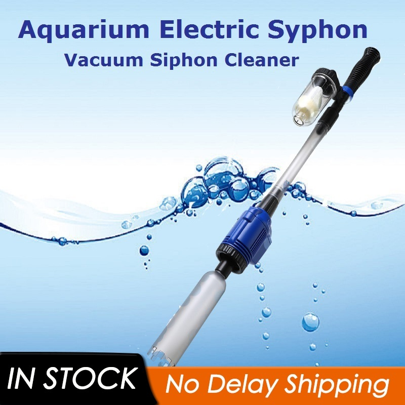 220V Powerful Suction Aquarium Electric Syphon Operated Fish Tank Sand Washer Vacuum Gravel Water Changer Siphon Filter Cleaner