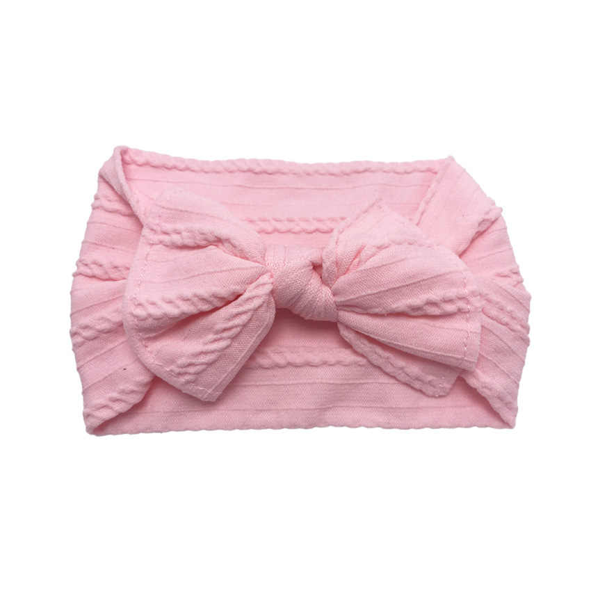 Nieuwe Handgemaakte Baby Meisjes Bow Hoofdband Baby Peuter Effen Knoop Haarband Jacquard Rib Brede Nylon Pasgeboren Haaraccessoires