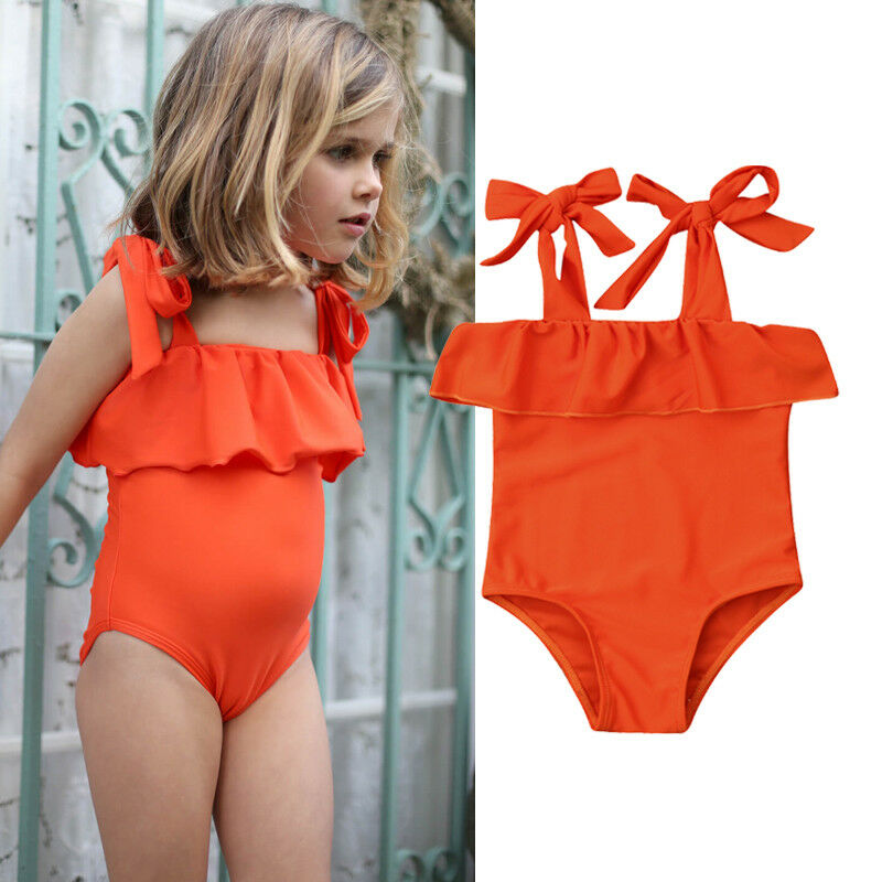 Cute Summer Toddler Kids Baby Girls Swimsuit Bikini Solid Casual Lace Up Swimwear Infant Children Beachwear Bathing Suit