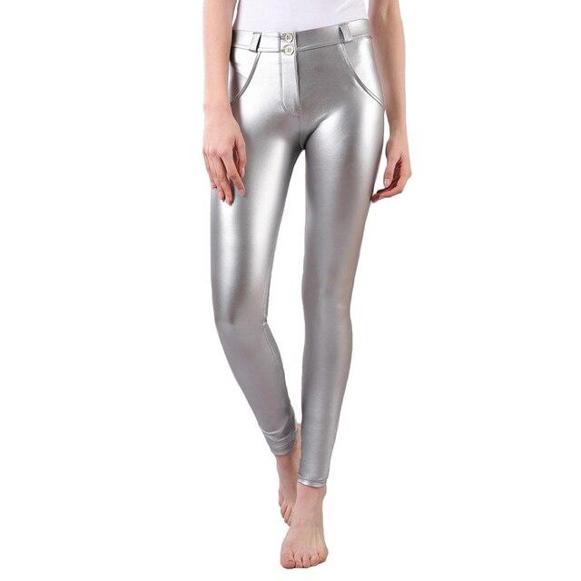Mélodie pantalon en cuir verni bout à bout taille moyenne métallique argent jambe mince Fitness Leggings pantalons de survêtement pantalon élastique maigre