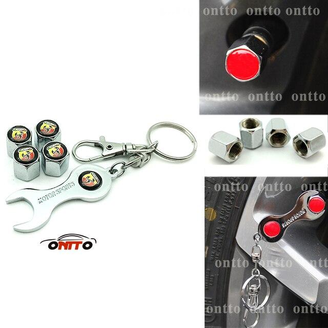 4 bouchons + 1 clé métal emblème voiture pneu Valve bouchons porte-clés pour pour ABARTH 595 Fiat 500 124 Spider Punto Alfa Rome roue pneu