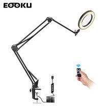EOOKU-lámpara de mesa LED de 8W, Mango Flexible de tres secciones, 3 colores, 5X/10X, lupa, lectura, trabajo de reparación de soldadura