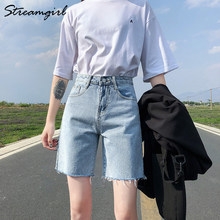 High Waist Short Jeans Bermuda Shorts For Women 2021 Summer Denim Capris Black Loose Casual Jeans Short Women's Denim Shorts