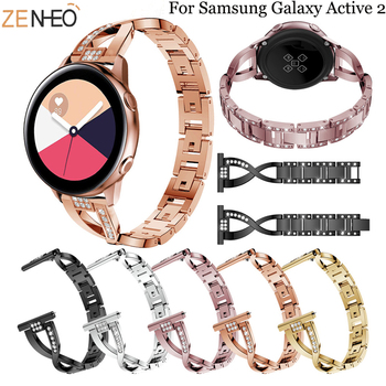 20mm Stainless Steel Jewelry watch Strap for Samsung galaxy Watch Active 2 40mm/42mm /s2 /s4 smart wristband Metal Bracelet band 20mm strap for samsung galaxy watch active galaxy watch 42mm gear s2 band stainless steel replacement crystal women wristband