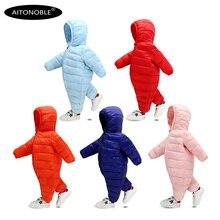 Aitonoble/; Зимний Легкий пуховик; Детский комбинезон; зимний цельный костюм; зимняя детская куртка с капюшоном; зимняя верхняя одежда для малышей
