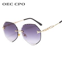 OEC CPO Gradient Irregular Rimless Sunglasses Women Transparent Glass 2019 New High Quality Ladies Frameless O228