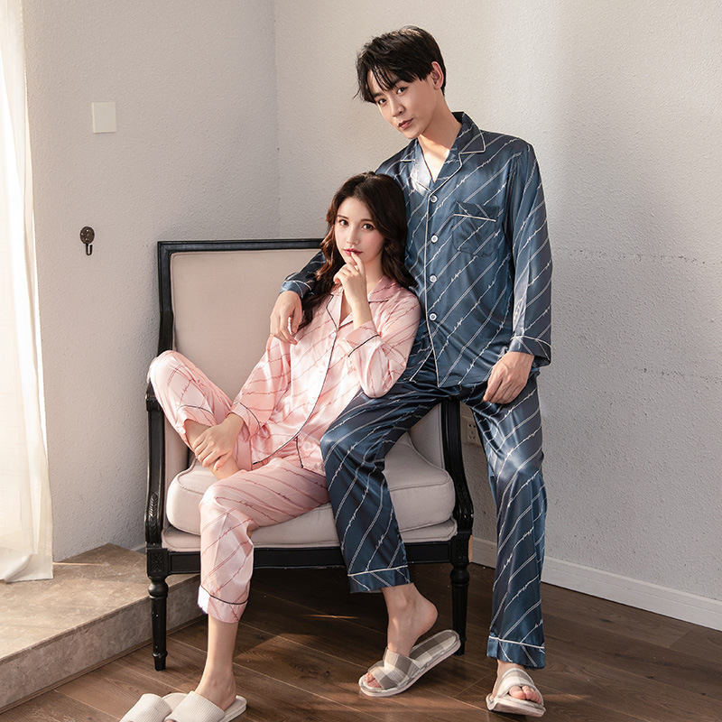 FZSLCYIYI Luxury Pajama Suit Satin Pajamas Sets Couple Sleepwear Family Pijama Lover Night Suit Men & Women Casual Home Clothing