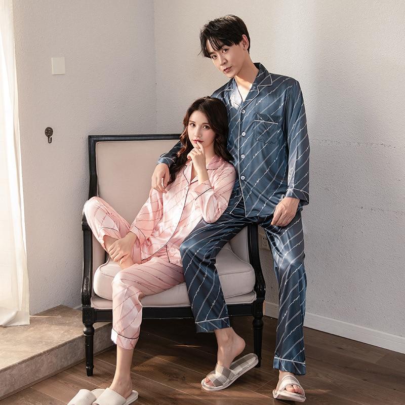 FZSLCYIYI Luxury Pajama Suit Satin Pajamas Sets Couple Sleepwear Family Pijama Lover Night Suit Men & Women Casual Home Clothing