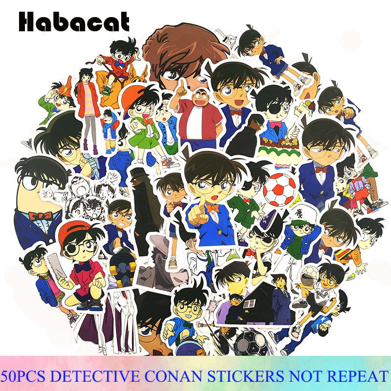 50 Pcs/Pack Comedy Detective Conan Stickers For Motorcycles Skateboards Phones DIY Hand Diaries Scrapbooks Desk Sticker