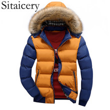Sitaicery Down Jacket Man Winter Thick Warm Hooded Hat Detachable Fur Collar Clothing S-4XL 2019 New Coat Wholesale