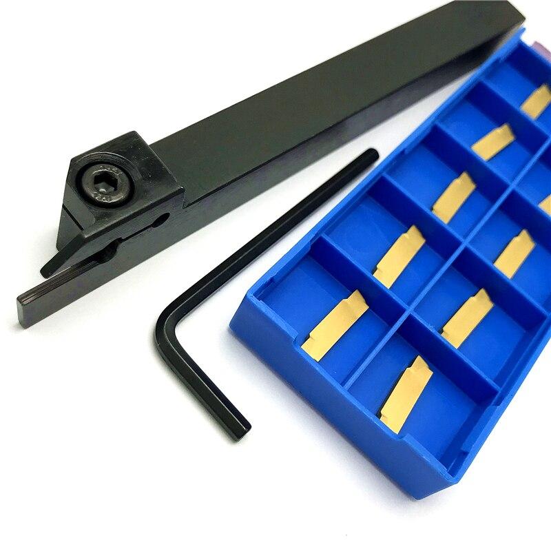 10pcs MGMN200-G Carbide Inserts + 1pc MGEHR1212-2 CNC Lathe Turning Tool Holder Boring Bar MGEHR 1212 Lathe Turning Tool Holder