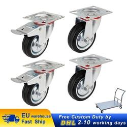4 шт сверхмощные 200 кг поворотные ролики колеса с 2 тормозными ПУ 100 мм колесики на колесиках 360 градусов для мебельного стула