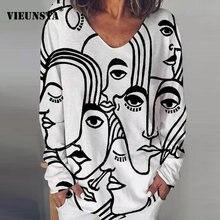 Chemisier manches longues pour femmes, t-shirt Vintage imprimé abstrait col en V, Streetwear, grande taille, automne, 2020, hauts amples