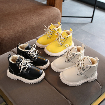 High Quality Fashion Lace Up Children Boots Hot Sales Solid Furs Kids Shoes Martin Kids Sneakers Classic Baby Girls Boys Tennis hot sales high quality led lighted children casual shoes classic cool solid boys girls toddlers tennis fashion kids sneakers