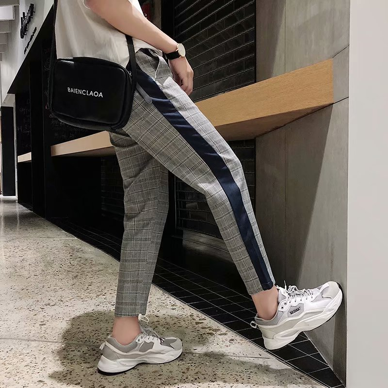 MAN'S Ninth Pants Men's Korean-style Trend Plaid Casual Pants MEN'S Pants INS Loose-Fit Versatile Athletic Pants Hong Kong Style