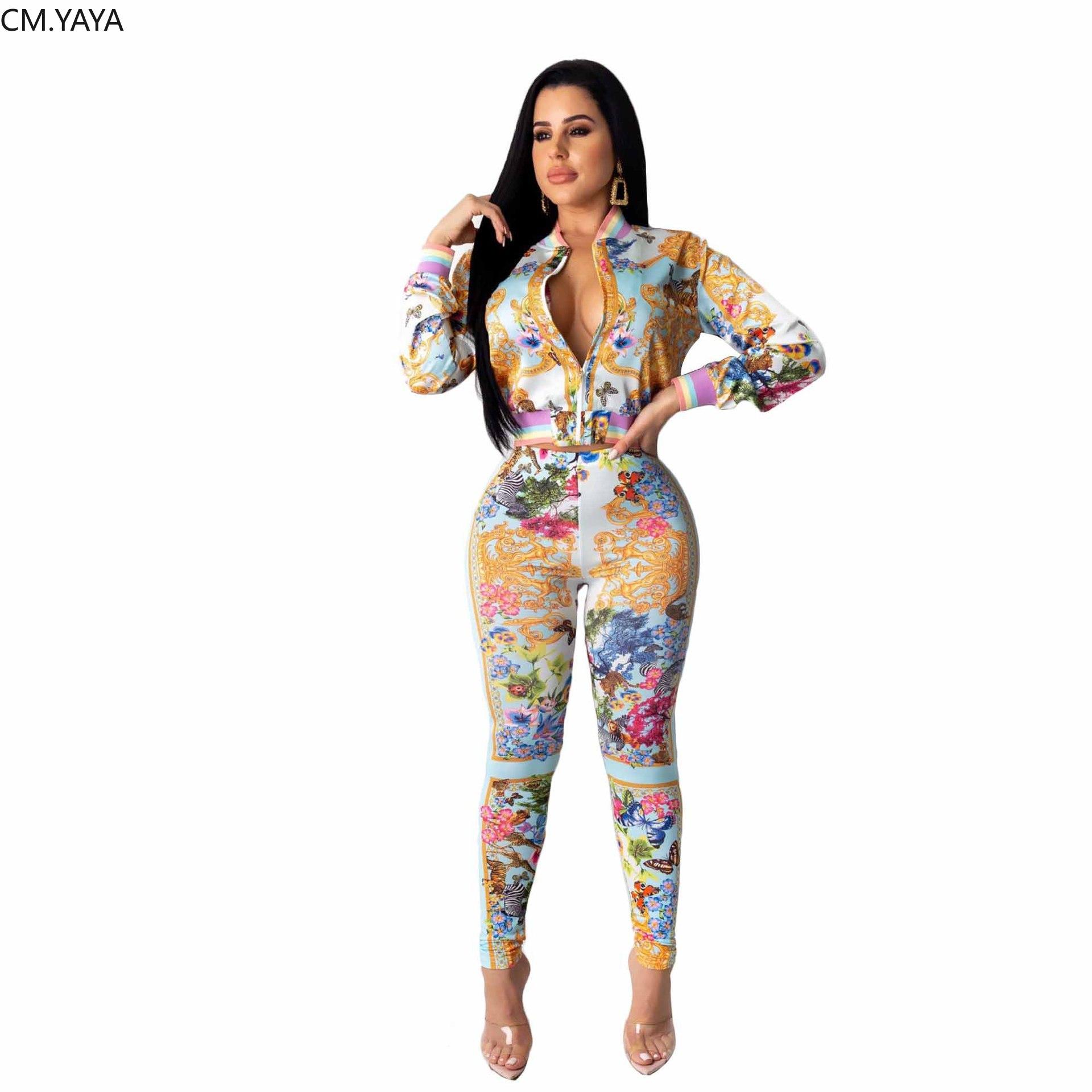 2020 Winter Frauen Sets Volle Sleeve Zipper Top Hosen Anzüge Bunte Drucken Zwei Stück Set Casual Trainingsanzüge Fitness Outfits GL1999