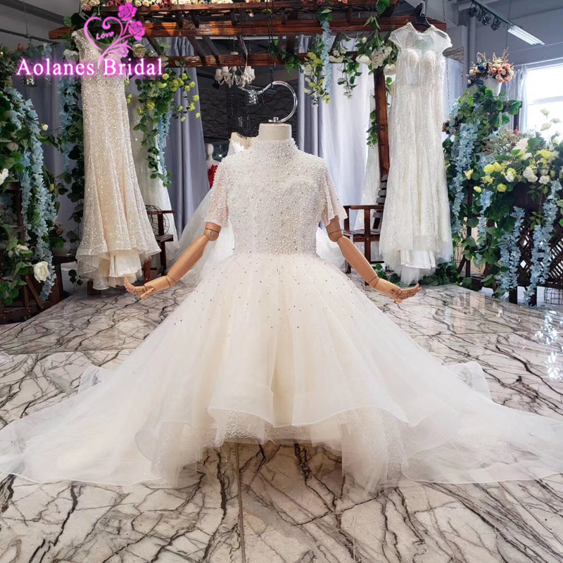 2019 Princess White   Girls   Pageant   Dresses   Lace Applique Beads Ball Gown   Flower     Girl     Dress   Tulle High Neck First Communion Gowns
