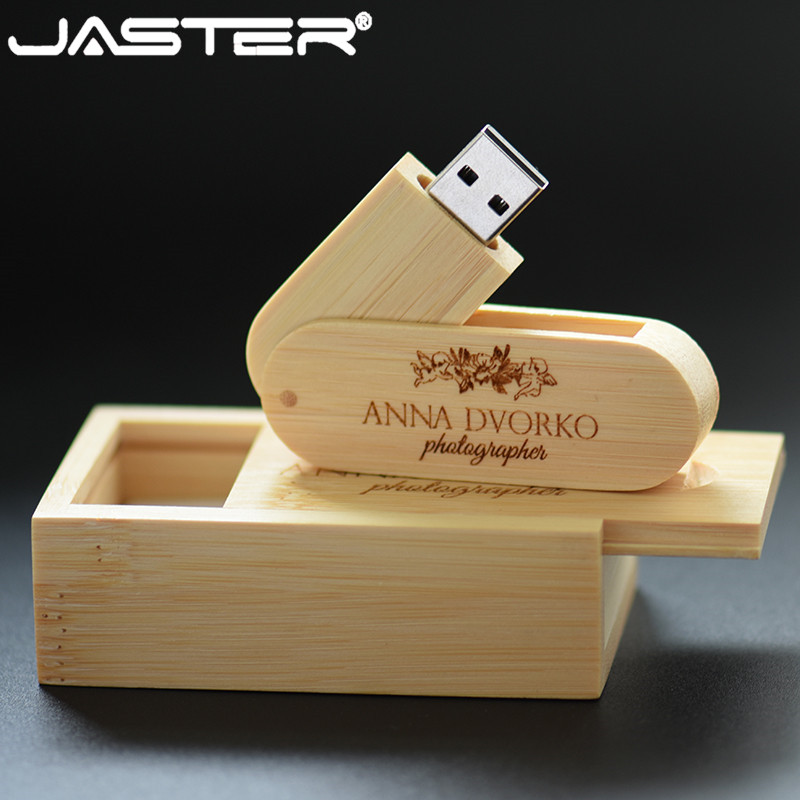 JASTER  (over 10 PCS Free LOGO) Walnut Wood USB + Box Pendrive 4GB 16G 32GB 64GB USB Flash Drive Memory Stick Photography Gift