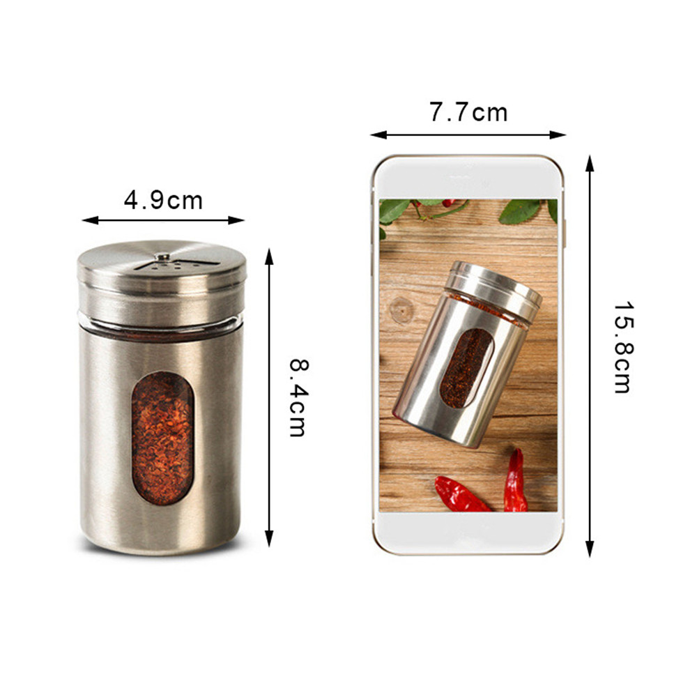 Spice Storage Box Stainless Steel Barbecue Kitchen Cooking Tool Condiment Bottle Kitchen Accessories in Spice Pepper Shakers from Home Garden