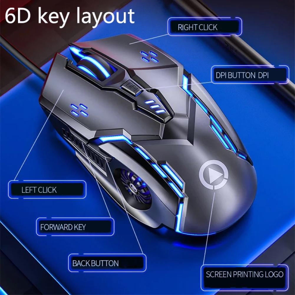 Silent/Sound USB Wired 6-Buttons 3200DPI Adjustable Light Gaming Mouse for PC New upgrade 6D rows layout swift operation hot sal