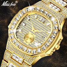 MISSFOX Роскошные мужские часы золотые 18K Nautilus модель полностью вымощенные багет алмаз мужские часы водонепроницаемые Календарь Мужские часы