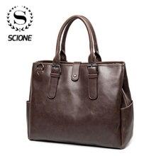 Men Briefcase Messenger-Bag Handbag Travel-Bag Business Crazy-Horse Vintage Male Luxury