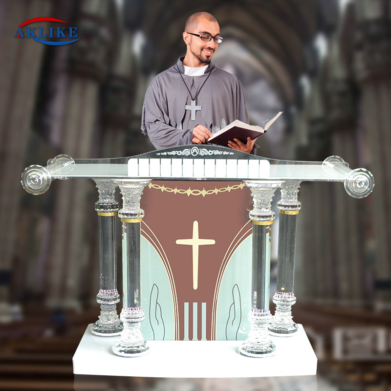 Custom Design Pulpits And Podiums For Church Glass Acrylic Pulpit With Speaker Lectern Luxury AKLIKE School Furniture Speech