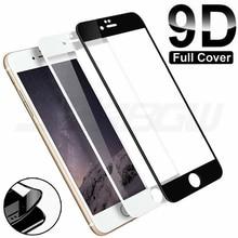 Cubierta completa de vidrio templado con borde curvado 9D para iPhone 7 8 6 6S Plus, Protector de pantalla en iphone7 iphone8 iphone6 iphone6s, película de vidrio