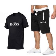 Traje de deportes nuevos boss, camiseta de manga corta, pantalones cortos, sudadera, verano, 2021