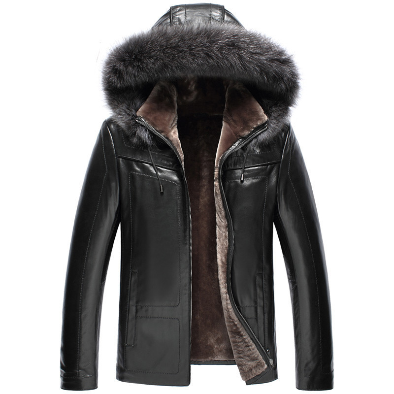Genuine Leather Jacket Men 100% Wool Fur Liner Warm Coat Winter Jacket Men Raccoon Fur Collar Luxury Sheepskin Coats 5xl MY1595