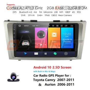 Hizpo9''Android 10 Car radio GPS Navigation for Toyota Camry Aurion 2007-2011 Multimedia DVR SWC FM CAM-IN BT USB DAB DTV OBD PC image