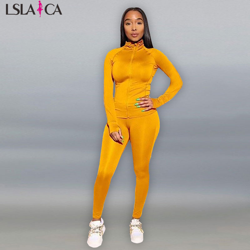 Sweatsuits For Women Long Sleeve Coat+long Pants 8 Color Plus Size S-2XL Have Elasticity Party Night Club Sports 2 Piece Set