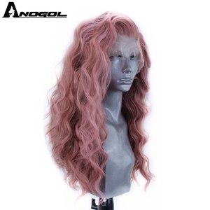 Image 2 - Аногол Розовый Синтетический кружевной передний парик длинные волнистые волосы парики с бесплатной частью для женщин высокая температура волокна