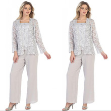Plus Size Classy Lace Mother Of The Bride Pant Suits With Ja