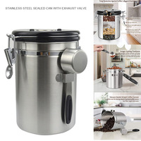 HOT Airtight Coffee Canister Stainless Steel Container Coffee Ground Vault Jar with Valve for Kitchen TI99