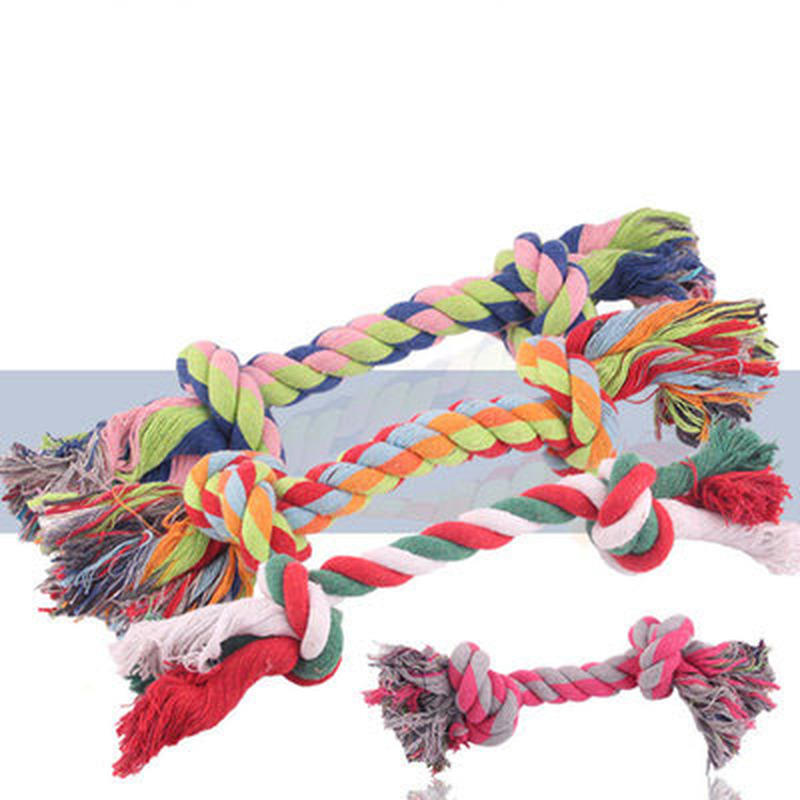 1 Pcs Dog Toys Puppy Bone Cotton Chew Knot Toy Durable Braided Rope Cat Dog Training Toys Pet Supplies Multi-size