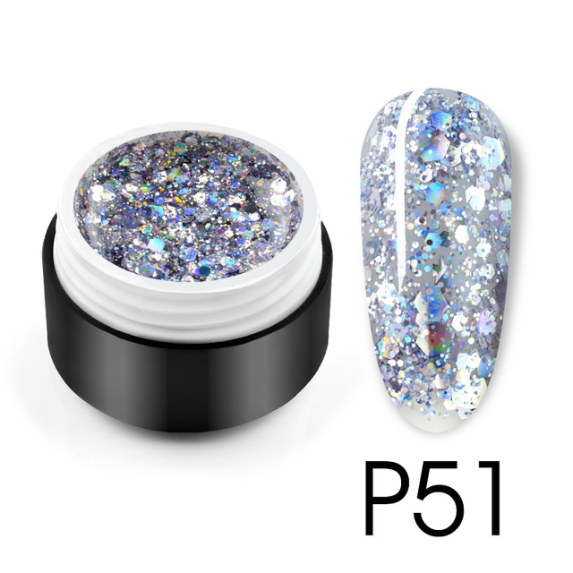 Glitter Bright Painting Gel Multi Shape Sequin Semi Permanent Soak Off UV LED Nail Gel Varnish Luxury Starry Color Gel Lacquer 3