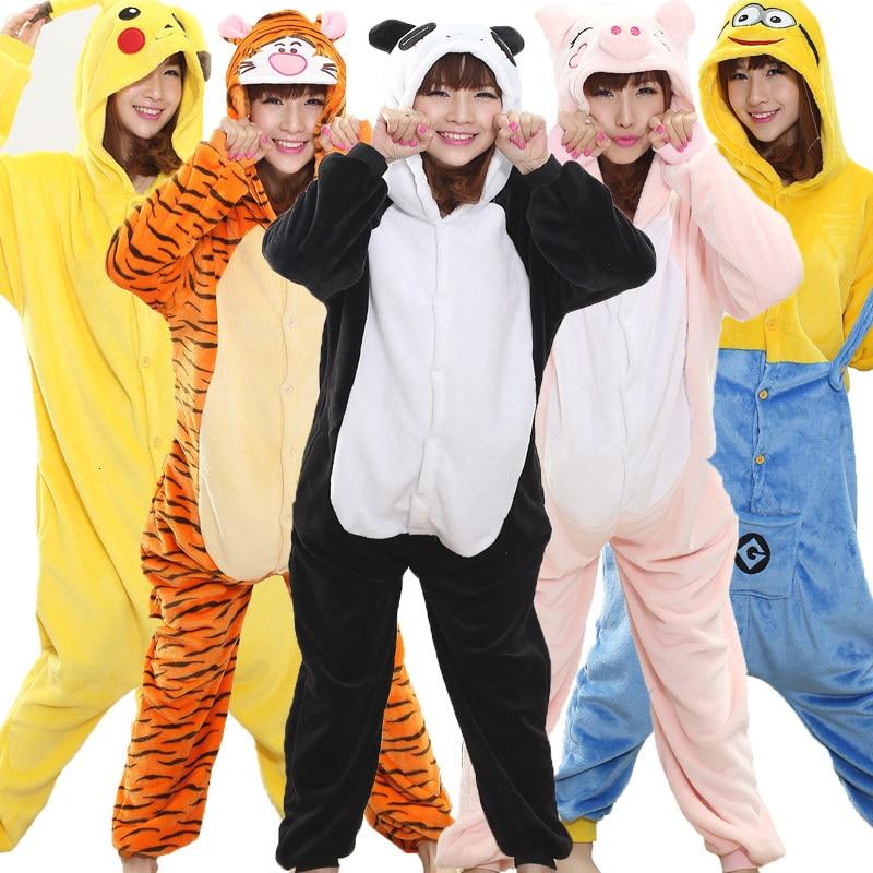 Kigurumi Panda Onesie For Adult Animal Man Women Pijamas Flannel Warm Soft Sleepwear Onepiece Winter Jumpsuit Pajama Anime